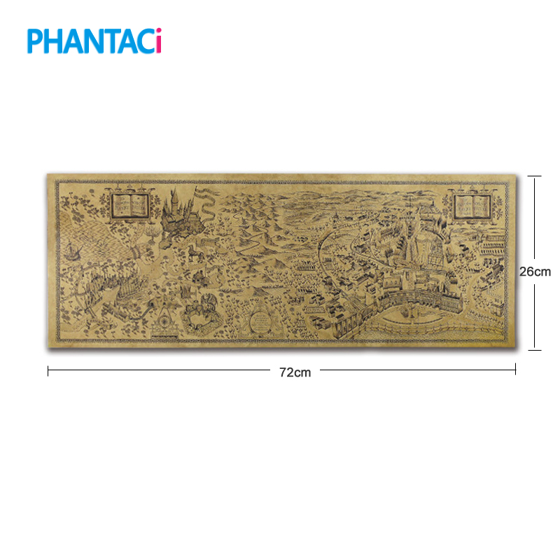 Vintage Magic World Map Retro Famous View Kraft Paper Cafe Bar Wall Poster Decorative Painting Sticker Stationery