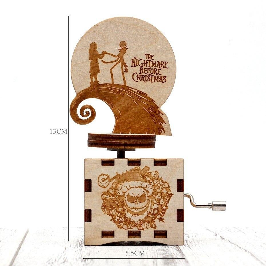 Античный резной Хэллоуин тема ручной коленчатый Музыкальная Шкатулка Дерево день детей подарки на день рождения