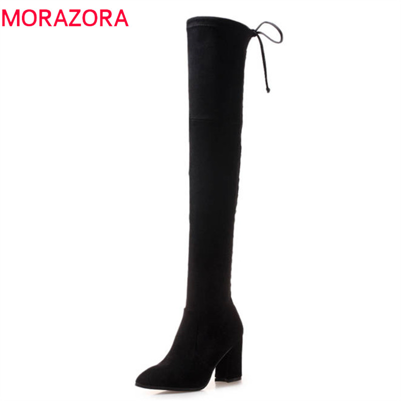 MORAZORA 2018 sexy over the knee boots women pointed toe flock leather autumn winter boots zip fashion high heels shoes woman стоимость
