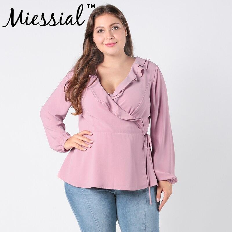 Miessial tops blouse Autumn women V-neck casual chiffon blouse long sleeve loose female boho tunic Wrap blouse Plus size Blouse