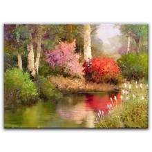 100% hand painted oil painting Home decoration high quality landscape knife painting pictures     DM16072109