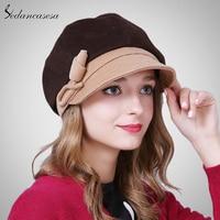 Sedancasesa Spring Female Hats Korean Fashion Keep Warm Winter Hat Berets Newsboy Cap With Handmade Flower
