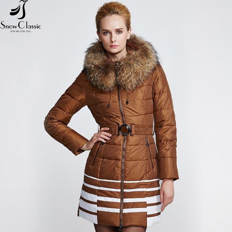 Mapache Snowclassic Real Caliente De Moda brown Mujeres Señoras Chaqueta Collar Piel Abajo 2018 Black Invierno Mujer aFpwXq0F