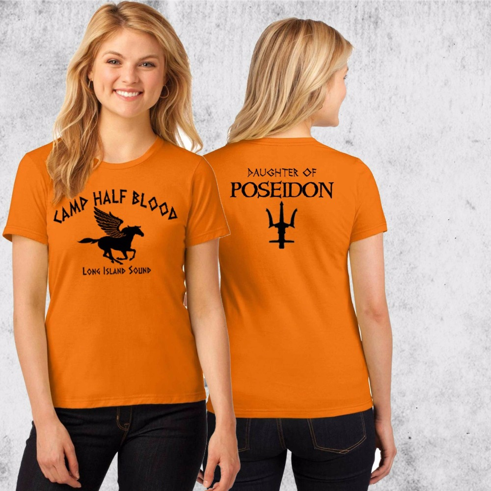 Hahayule J Camp Half Blood T-shirt Percy Jackson Halloween Costume 2 Sided Print Women Fitted Ladies, Unisex Size Shirts