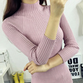 Autumn winter women fashion slim collar shirt long sleeved solid color sweater female Turtleneck knitting tops MS-85-268