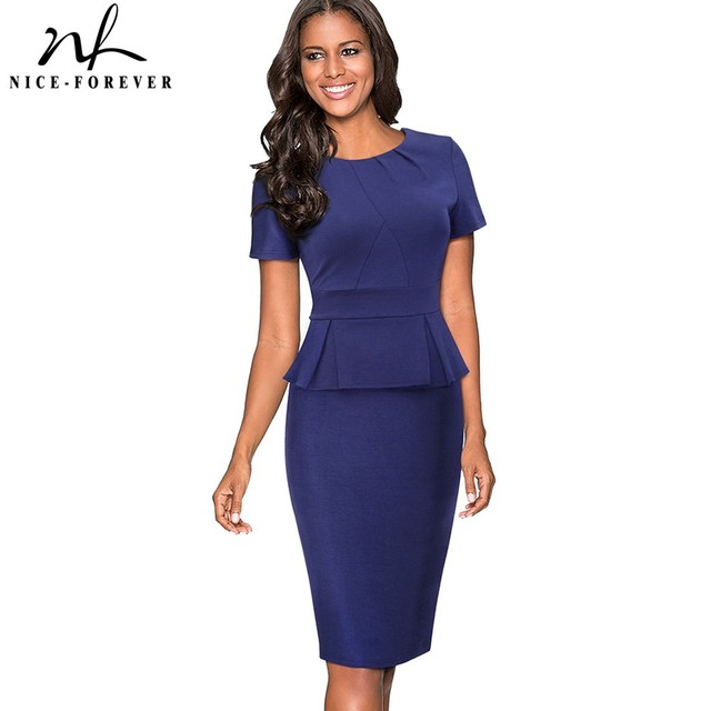 35b6714867f Nice-forever Vintage Elegant Pure Color Wear to Work Zipper Ruffle vestidos Bodycon  Office Business Sheath Women Dress B438