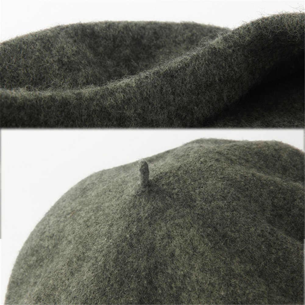 2020 قبعة سوداء Vintage إمرأة بنات الفنان شتاء دافئ بني فاتح عادي القبعات موضة الصلبة رئيس ارتداء قبعة قبعة