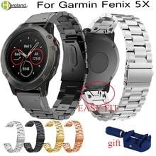 цена на Stainless Steel Watch Band Strap For Garmin Fenix 5X 5x Plus for Garmin Fenix 3 3 HR 26mm Metal Replacement smart wristStrap new