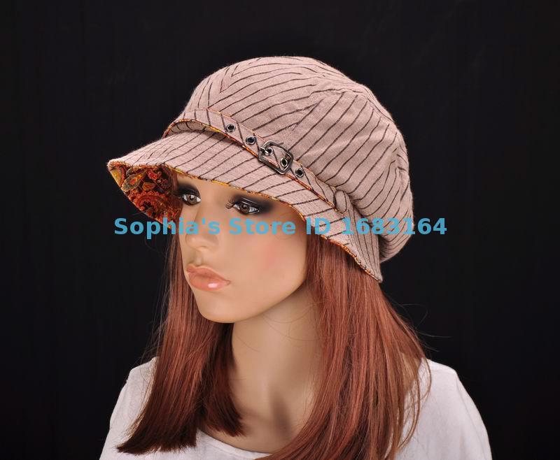 M195 Brown Cute Stripe Cotton Sun Hat Brim Cap Bucket Newsboy Summer Women's NWT