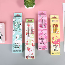 12 Pcs/pack Cartoon Animal Flamingo HB Wood Standard Pencils Set Stationery School Supplies Wooden