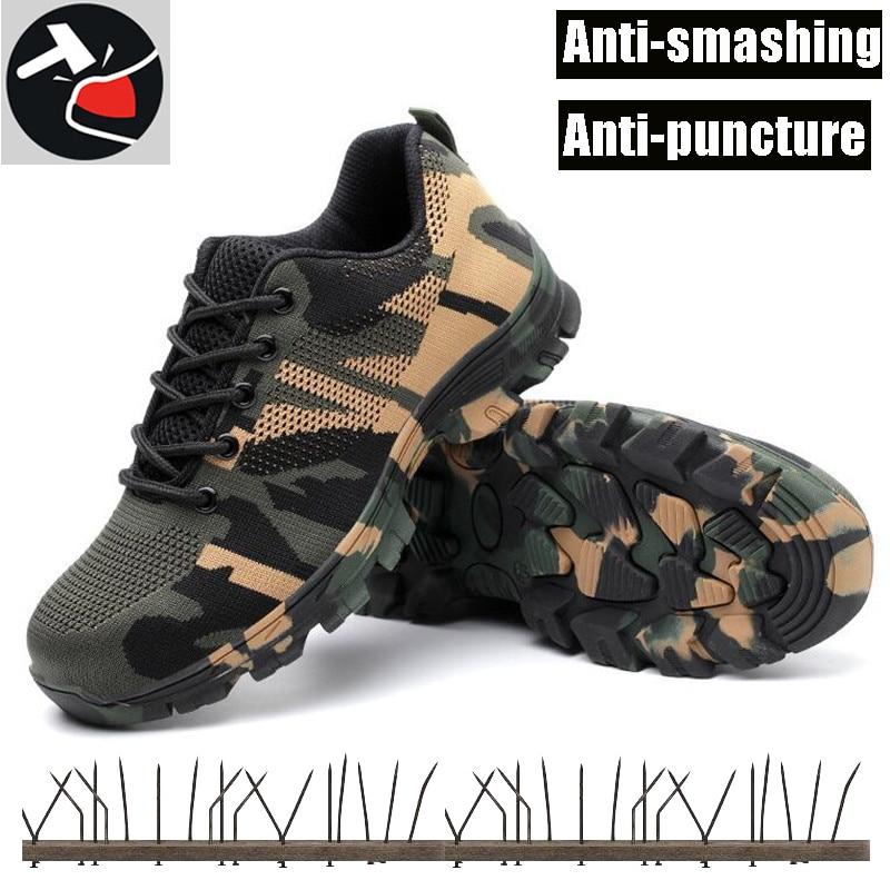 100% QualitäT Männer Stahl Kappe Arbeit Sicherheit Schuhe Leichte Atmungsaktive Casual Industrielle Sneaker Non-slip Gummi Sohle Camouflage Mode Schuhe