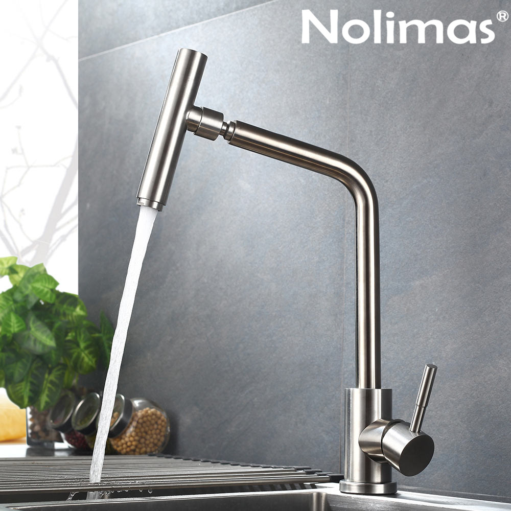 SUS 304 stainless steel Brushed Nickle paints Spool Mixer Water Faucet Kitchen Faucet Hot And Cold Double Control Rotating Tap цена