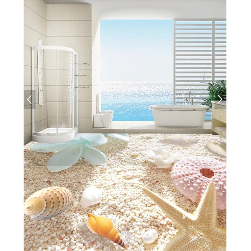 Floor painting hd white sand shell flower waterproof - Waterproof floor paint for bathrooms ...