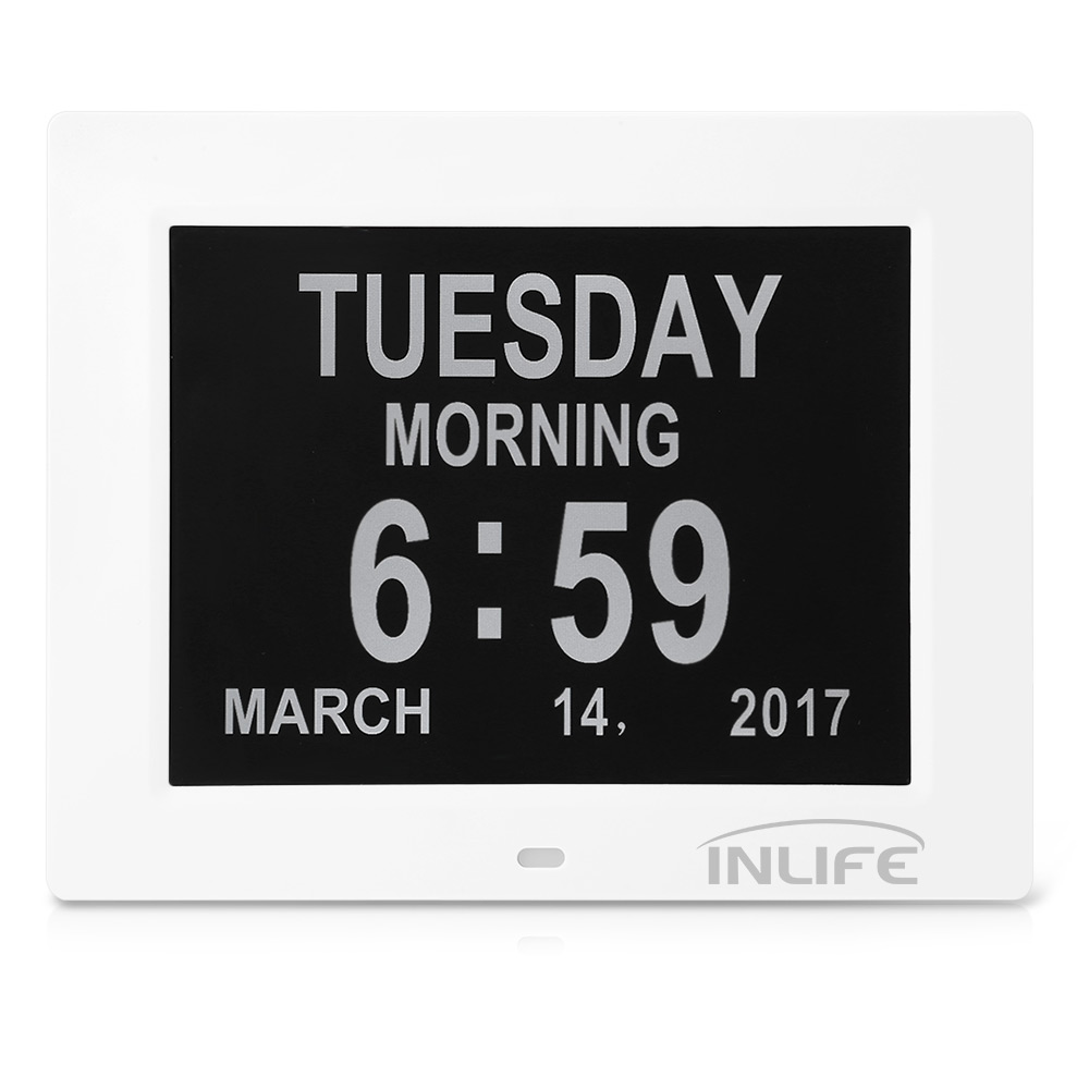 Inlife DDC 8009 8 Inch Digital Calendar Clock With 8 Alarm Options Auto Light Dimmer SD Card Digital Clock Reminding Settings