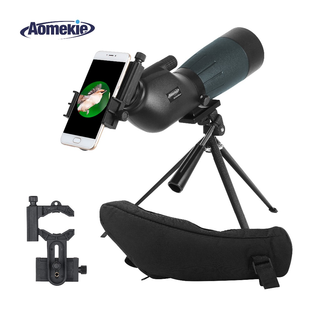 AOMEKIE 20-60X60 Spotting Scope Zoom Hunting Optics HD Camping Bird Watching Monocular Telescope FMC Lens with Phone Adapter aomekie 10x42 monocular bak4 prism fmc optical lens high power hunting camping telescope compact spotting scope waterproof