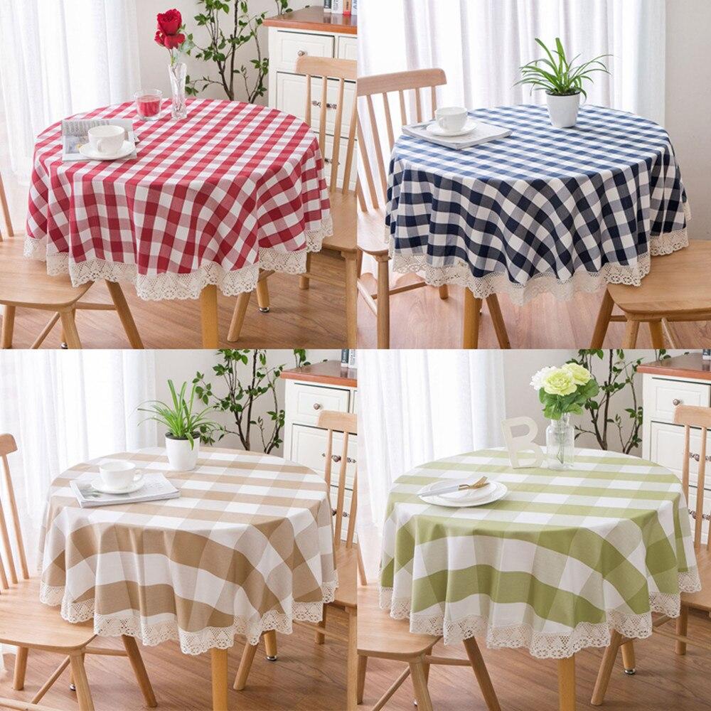 Toalha de mesa redonda xadrez grossa algodão linho cozinha jantar pano renda estilo pastoral simples mesa café nórdico decoração pano