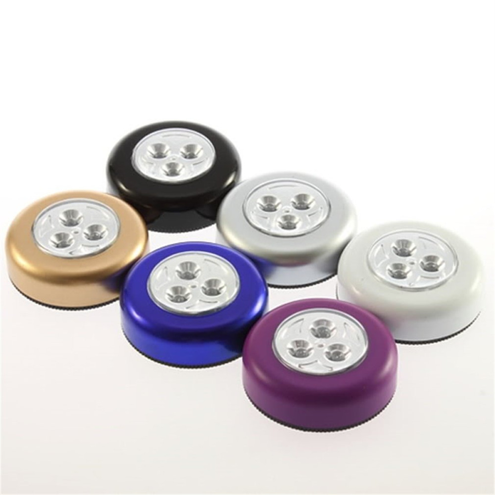 3 Colors Round Cordless Kids Touch Lamp 3 Led Battery