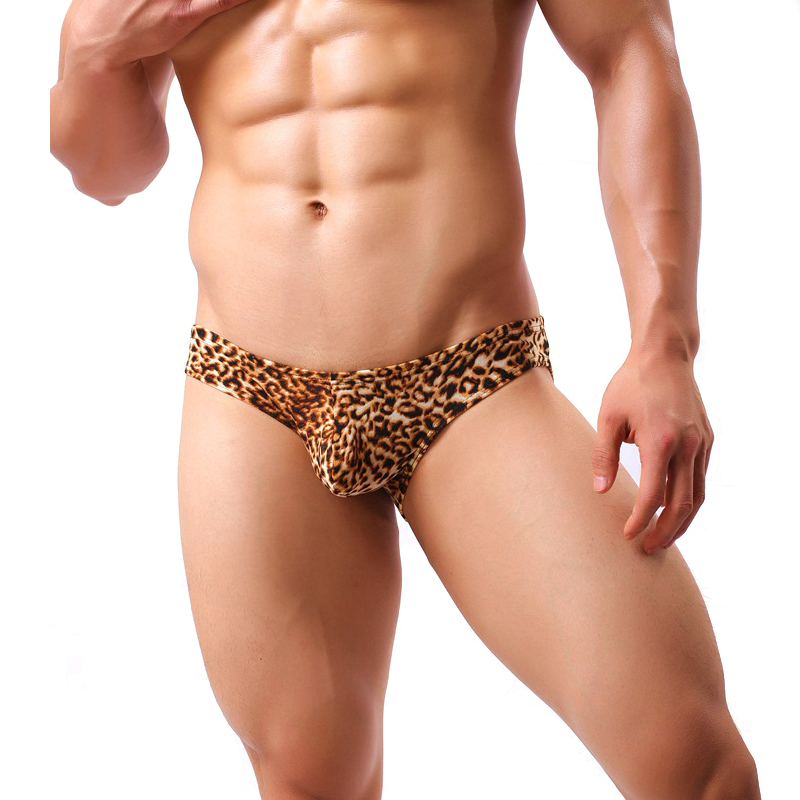 Plus Size Sexy Briefs Men Underwear Leopard Shorts Bulge Pouch Comfortable Breathable Male Underpants Panties Briefs Lingerie