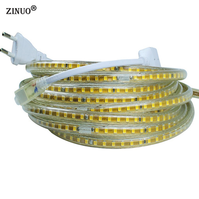 все цены на ZINUO 220V Led Strip Light SMD 2835 120Led/M Waterproof IP65 Led Tape Ribbon Light With EU Power Plug 1M 2M 3M 4M 5M 10M 15M 20M