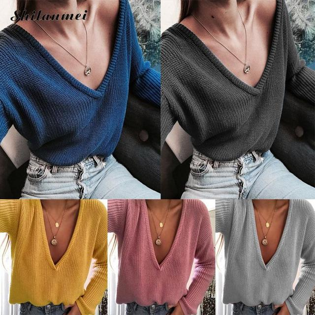 247919f213 Deep V Neck Sexy Knitted Sweaters And Pullovers Women Autumn Winter Long  Sleeve Solid Pink Yellow Blue Causal Sweater Pull Femme