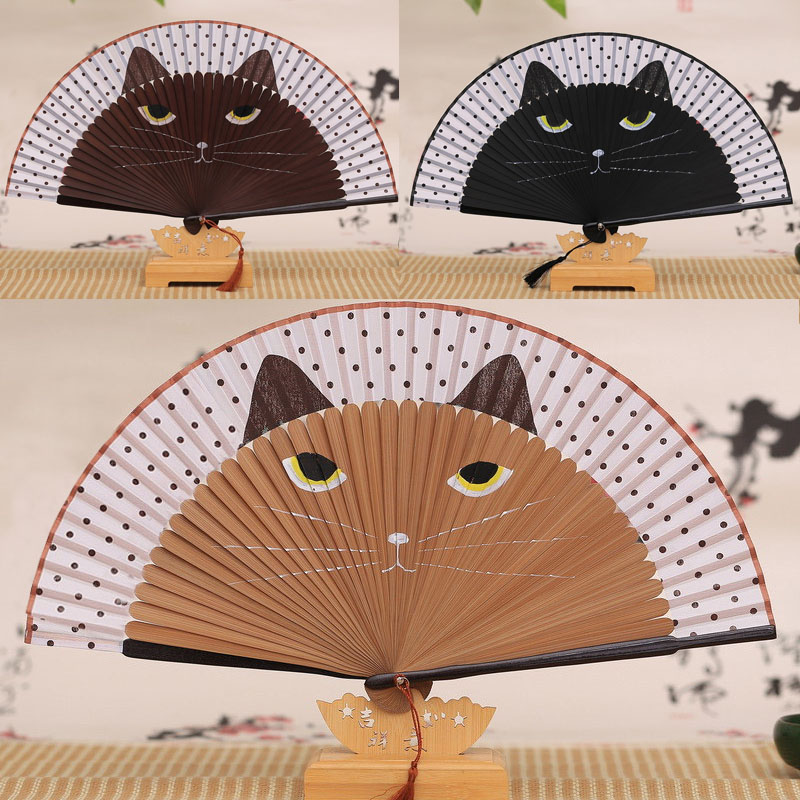 Kawaii Hand Folding Cat Fan 1