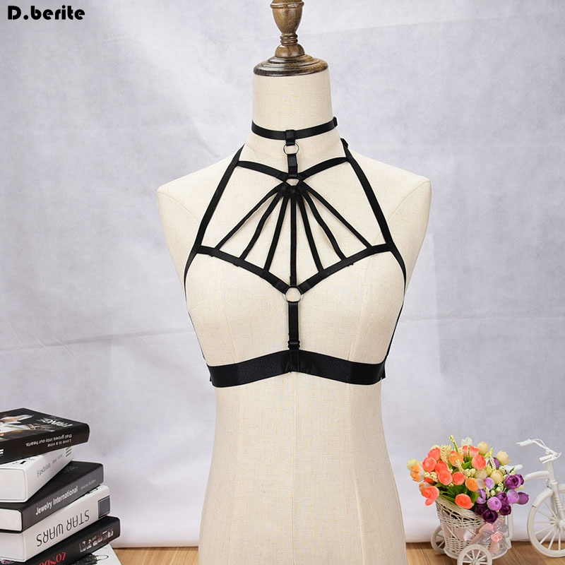 Womens Black Body Harness Garter Belt Gothic Bust Bondage Bra Belt Adjustable