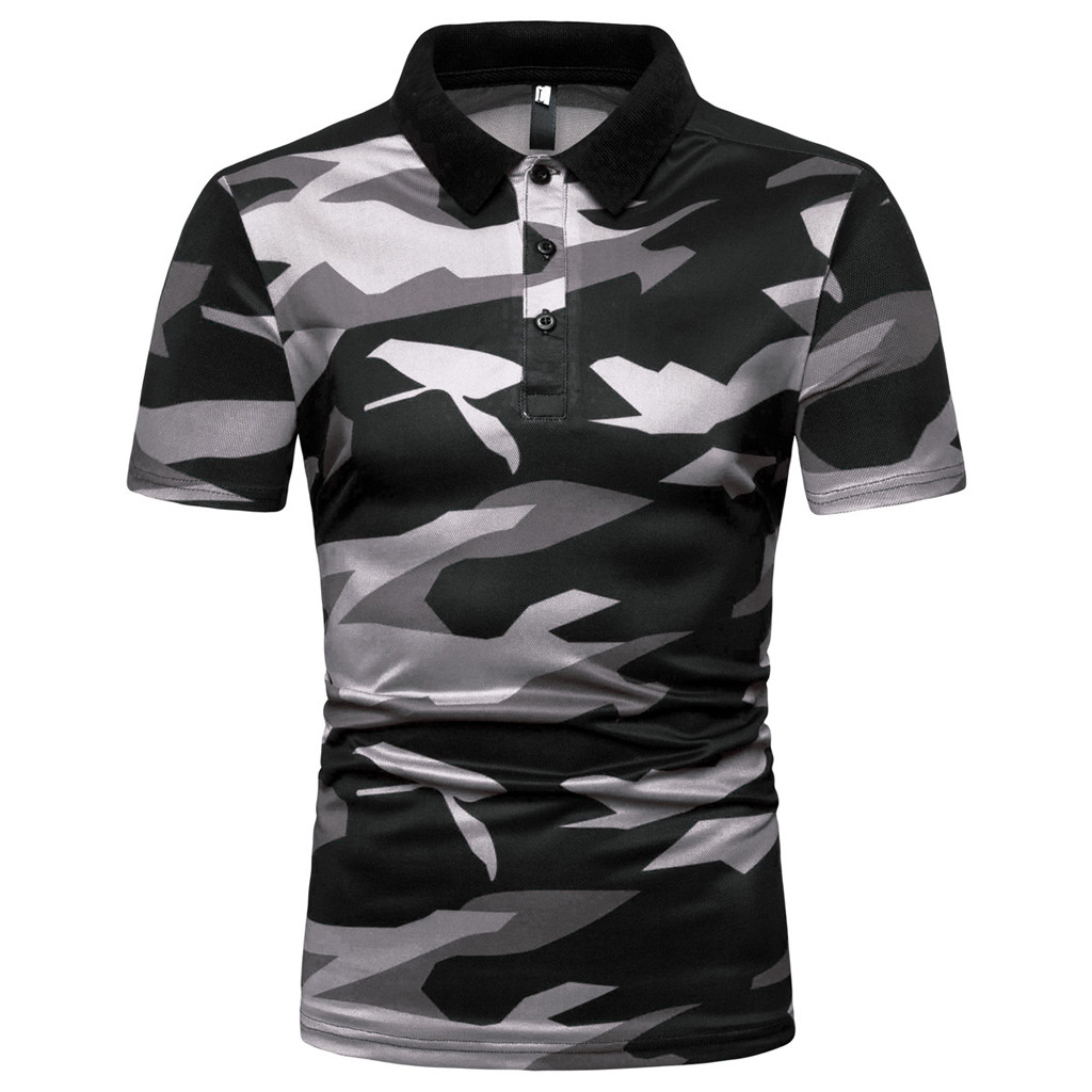 Polo   Shirts For Men Fashion Short Sleeve Stripe Camouflage Large Size Casual Top Blouse Quick Dry Summer Military   Polo   Shirt