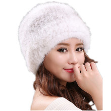 natural mink fur hats for women winter knitted fur caps autumn winter real fur beanies white black color H119