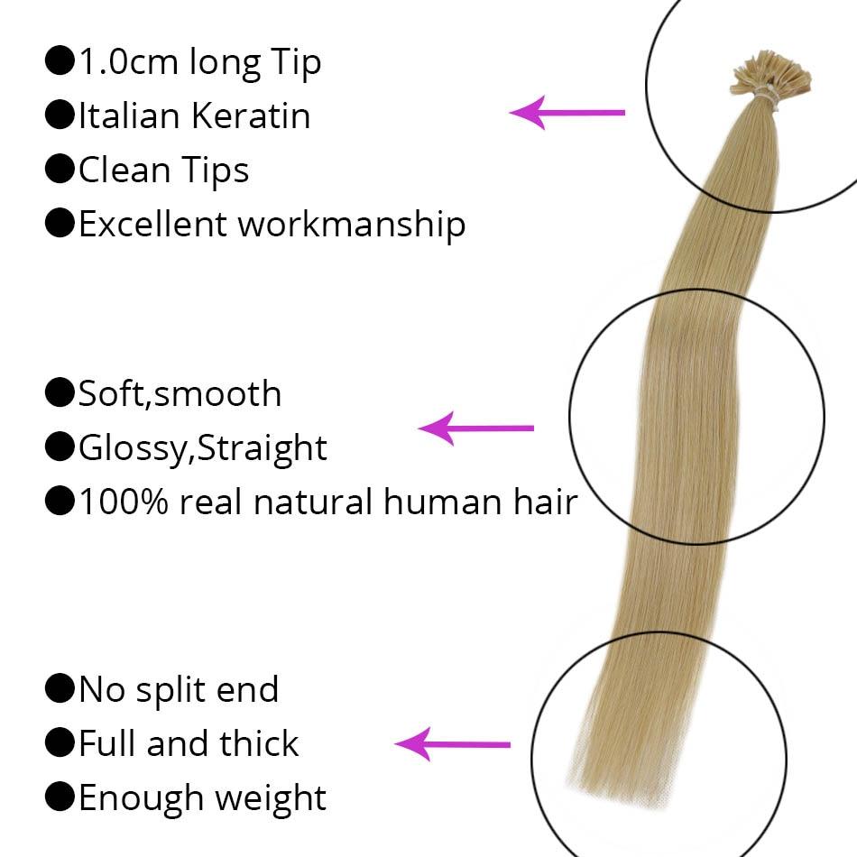 MRSHAIR ფრჩხილის U რჩევები თმის - ადამიანის თმის (თეთრი) - ფოტო 2