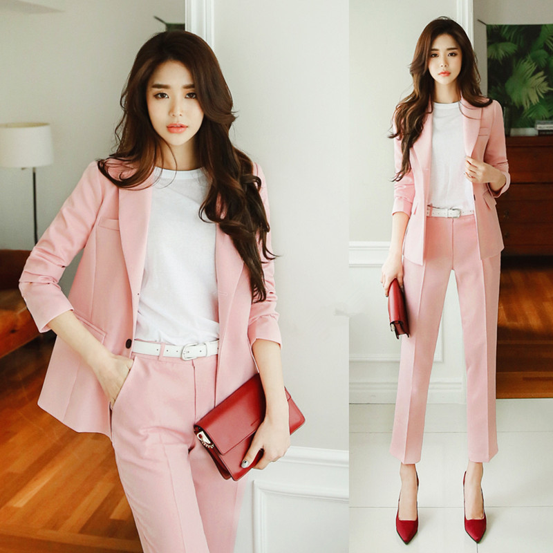 Pink Women Suit Sets Blazer & 9 points pants Work Pants Suits 2 Piece Sets Office Lady Suits Women Outfits Spring New