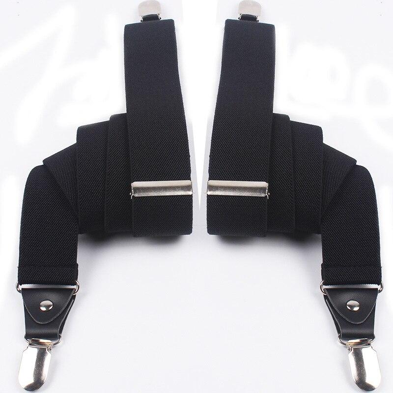 Mantieqingway High Quality Black Suspender Separate Elastic Straps 4 Clips 35mm Width Braces Strap Business Formal Suspenders