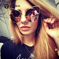 AOUBOU Brand Designer Personality Women Cat Eyes Cool Sunglasses Thin Metal Wrap Big Frame Sun Glasses Female UV400 Oculos 7123