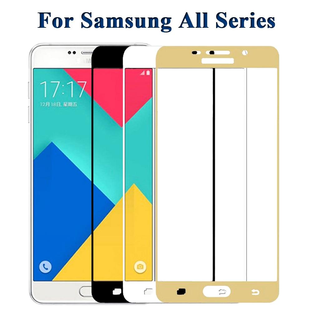 Hel täckt härdat glas för Samsung Galaxy J2 J5 J7 Prime 9H skärmskydd för Galaxy A7 A5 A3 2017 A710 A510 Note 5 4 Film