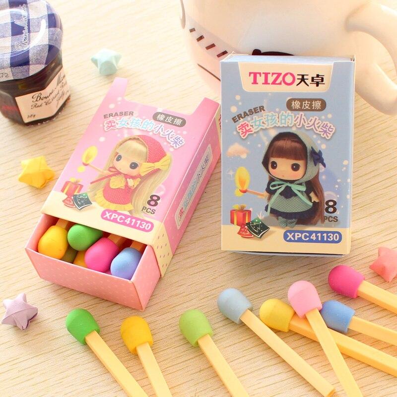 8 Pcs/box Cute Girl Creative Color Matches Box Rubber Eraser Kawaii Stationery School Supplies Papelaria Pencil Eraser Kids Gift