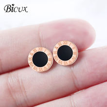 BICUX Titanium Steel Rose Gold Silver Small Earrings Gifts for Women Fashion Acrylic Roman Numerals Stud Earrings 2018 Jewelry(China)