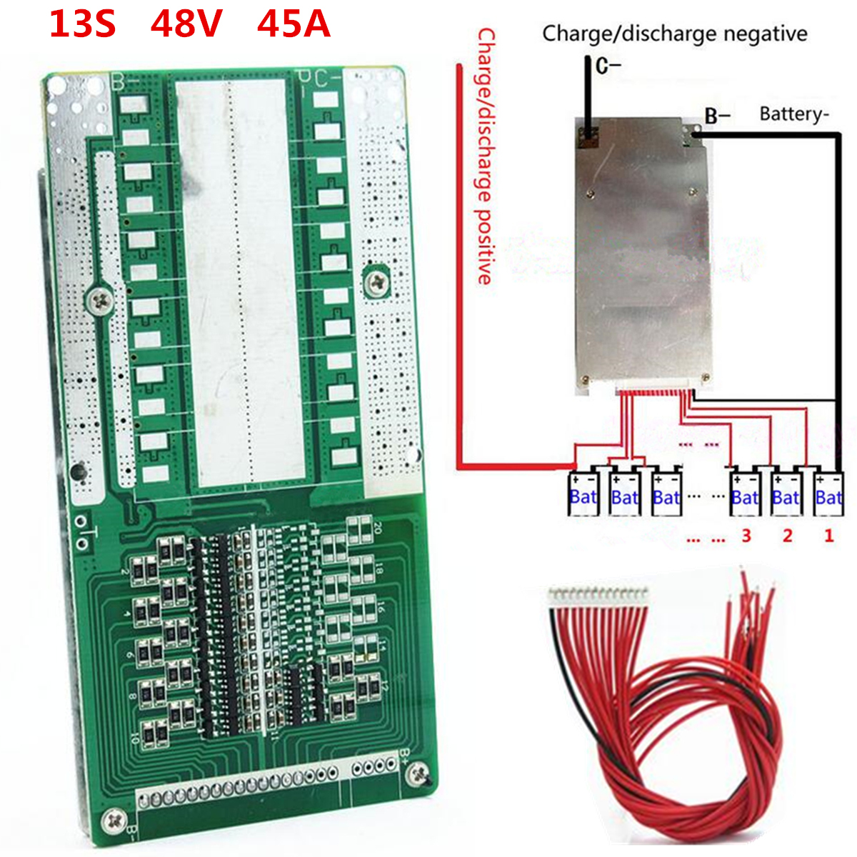 48V 13S 45A Li-ion Lipolymer Battery Protection Board Module BMS PCB With Balance48V 13S 45A Li-ion Lipolymer Battery Protection Board Module BMS PCB With Balance