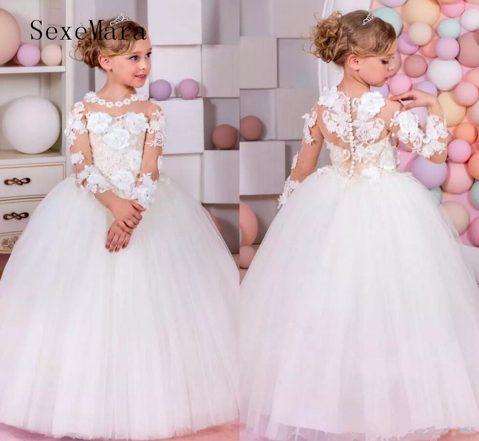 2018 Top Quality Pageant Dresses For Little Girls Long Sleeve Ball Gown Flower Girl Dresses Kids Prom Dresses