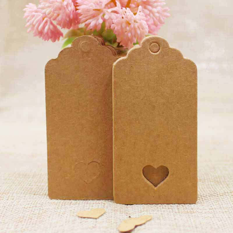 100Pcs DIY Kraft/black/white Paper Tags With Heart Cut  Label Luggage Hang Tag Wedding Note Blank Price Hang Tag  8*4cm
