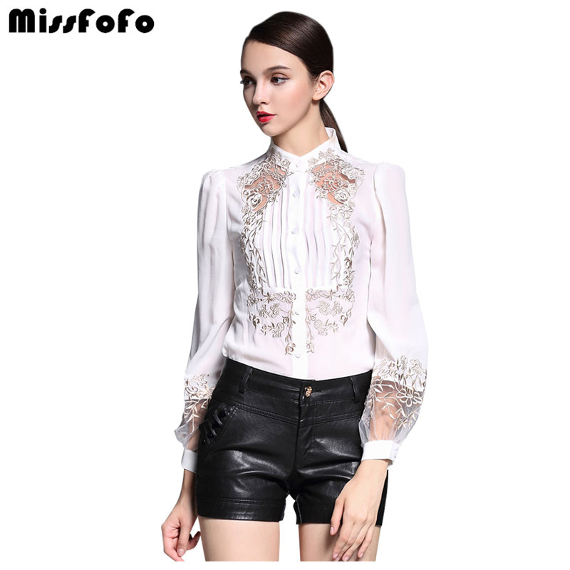 Miss FoFo Elegant Blouses Shirts 2019 Commercial Work Wear One Piece Shirt Casual Embroidery Flower Shirt