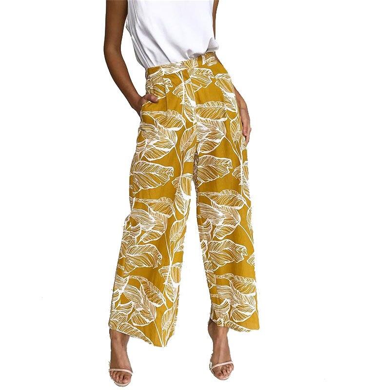2019 Fashion Women   Pants   Leave Printed   Wide     Leg     Pants   Loose Casual Pockets Boho Summer Beach   Pants   Trousers New Plus Size M0542