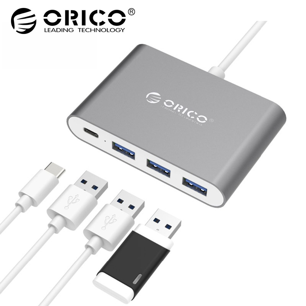 ORICO Aluminum Type-C HUB with 1 Type-C 3 Type-A Ports Support OTG / PD Charging for Macbook Mi Huawei Type-C Laptops orico usb hub 7 ports 5 gbps usb3 0 hub splitter support bc1 2 charging with 12v dc charging port