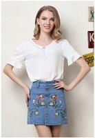 2017 Summer Jeans Skirt Women High Waist Embroidery Denim Skirts Female Mini Casuall large size A Line Skirt YNDTY02