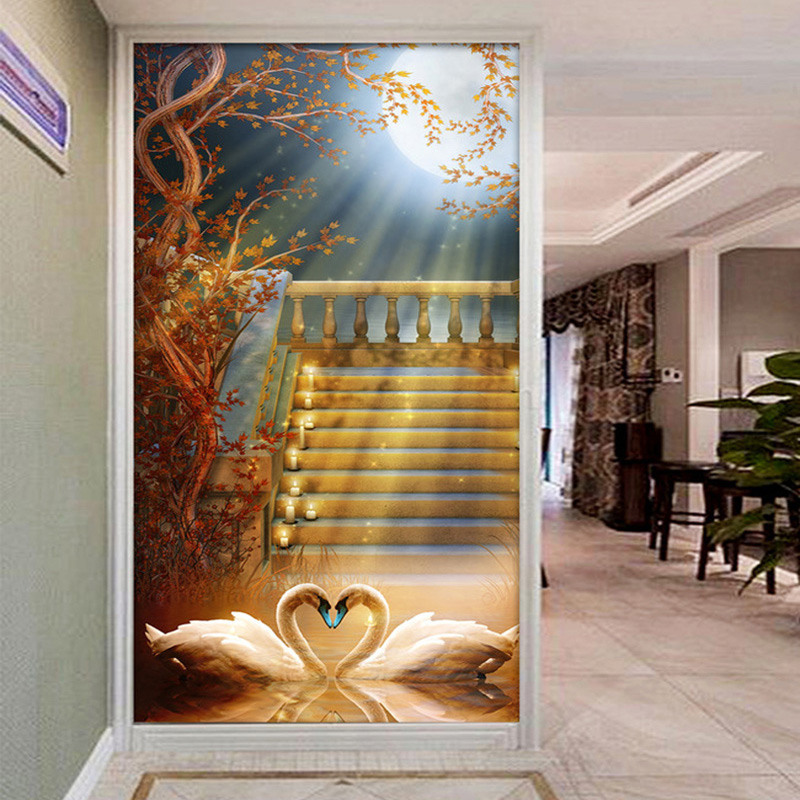 Custom Photo Wallpaper European Style Swan Stairs Tree Branches 3D Entrance Hallway Corridor Background Wall Art Mural Wallpaper free shipping 3d stereo entrance hallway custom wallpaper vertical version european oil painting wallpaper mural