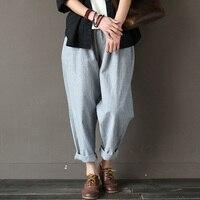 SERENELY 2016 Women Pants Classic Striped Linen Pants Loose Radish Pants Elastic Waist Casual Pants Pantalon