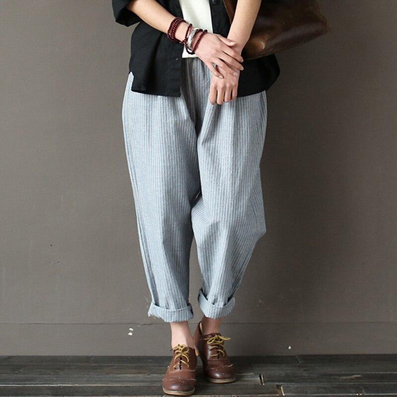 SCUWLINEN 2018 Women Trouser Classic Striped Linen Pants Loose Radish Pants Elastic Waist Casual Pants Pantalon Harem Pants S183 casual drawstring elastic waist loose harem pants for women