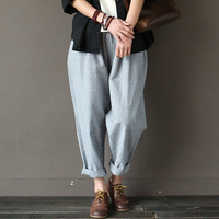 SCUWLINEN 2018 Women Trouser Classic Striped Linen Pants Loose Radish Pants Elastic Waist Casual Pants Pantalon Harem Pants S183