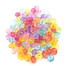 100Pcs Mixed Colourful Spacer Beads Round Faceted Acrylic Fashion Jewelry DIY Findings 8mm