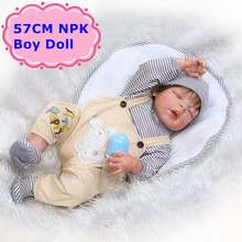 NPK 22″57cm Full Silicone Vinyl Baby Reborn Doll Vivid Sleeping Boy Doll In Lovely Jumpsuit Baby Kids Toys Girls Gift Brinquedo