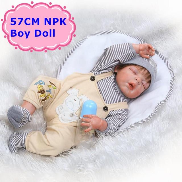 """Npk 22 """"57 см Полный Силиконовые винил для Кукла реборн яркие спальный мальчик кукла в прекрасный комбинезон для маленьких детей игрушки подарок для девочек brinquedo"""