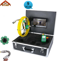 Inspection Camera Pipe 9'' LCD Waterproof Pipe Sewer Inspection Camera IP68 Color 1/3 CMOS 1000TVL 6 Leds Endoscope Snake Camera